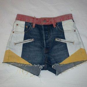 levi color patch 501 denim shorts womens size 25